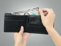 Hands removing crumbled money from wallet Stock Photo