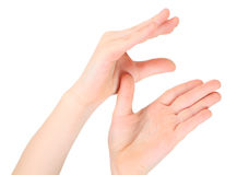 Hands represents letter E from alphabet Royalty Free Stock Photos