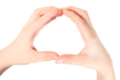 Hands represents letter O from alphabet Stock Images