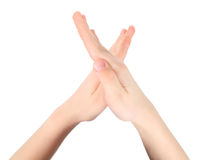 Hands represents letter X from alphabet Stock Image