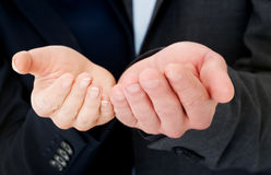 Hands in request gest. Woman's and man's hands in request gest stock photography