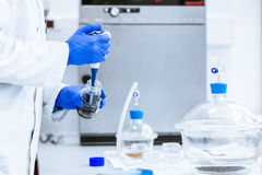 Hands of a researcher carrying out experiment Stock Image