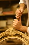 Hands of restaurator Stock Photo