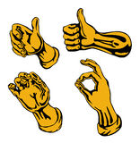 Hands retro style gold. Vector art on hands retro style vector illustration