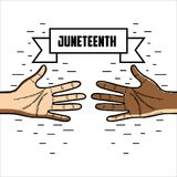 Hands with ribbon massage to juneteenth celebrate. Vector illustration Royalty Free Stock Images