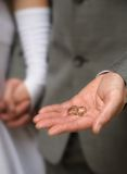 Hands and rings. Wedding rings in groom's hands Stock Photo