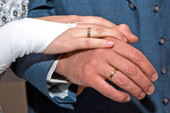 Hands with rings. Hands of couple with wedding rings Stock Photo