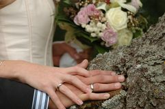 Hands, rings and bouquet. Of a wedding couple Stock Image