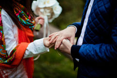 Hands with rings Groom putting golden ring on bride`s finger Royalty Free Stock Photo