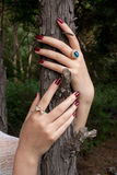 Hands with rings. Hold the tree Royalty Free Stock Photo