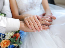 Hands with rings of a wedding couple stock photography