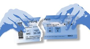 Hands Ripping A Plane Ticket. Flight Cancelled Concept Image With Ripped  Flight Ticket - The Image Is Totally Invented And Does Stock Image - Image  of canceled, checkin: 183257085