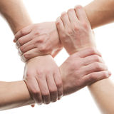 Hands rised up in air across sky Stock Image