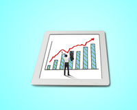 Hands rising cheered businessman with growth red arrow trend. And chart on tablet in green background Stock Photography