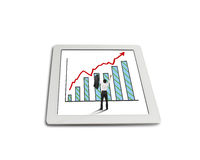 Hands rising cheered businessman with growth red arrow trend. And chart on tablet in white background Stock Photos