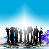 Hands rising out of water. An abstract illustrated view of silhouetted black hands rising out of water Stock Images