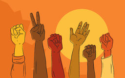 Hands rising in political protest Stock Photography