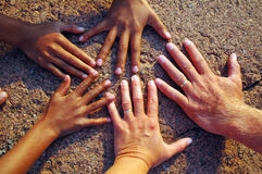 Hands on rock. Five hands on sunny rock royalty free stock image