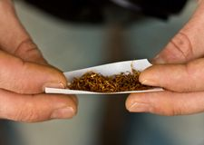 Hands rolling tobacco Royalty Free Stock Image