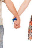 Hands of romantic caucasian couple Stock Photos