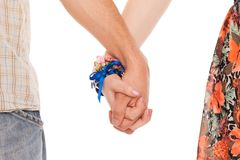 Hands of romantic caucasian couple Stock Photo