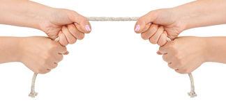 Hands and rope Stock Photo