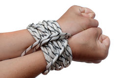 Hands on the rope Royalty Free Stock Image