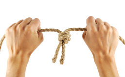 Hands with rope Stock Photography