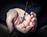 Hands and rosary Royalty Free Stock Photo