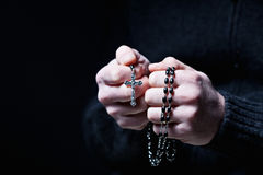 Hands and rosary Royalty Free Stock Image