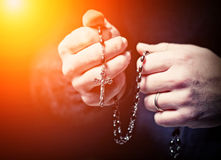 Hands and rosary Royalty Free Stock Photos