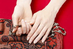 Hands with rosary Royalty Free Stock Image