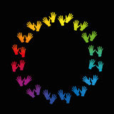 Hands Round Frame Rainbow Colored Circle Stock Photo