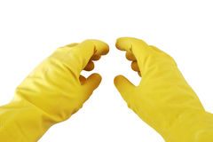 Hands in rubber gloves. Isolated on white Royalty Free Stock Photos