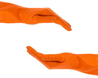 Hands in rubber gloves shows protection concept Royalty Free Stock Photo