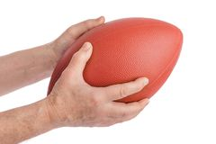 Hands and rugby ball royalty free stock photos