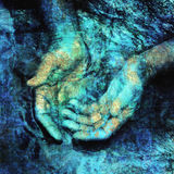 Hands In Sacred Water. Mystical hands in the living waters. Photo based illustration Stock Photo