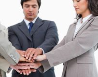 Hands of salespeople together Royalty Free Stock Photos