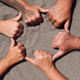 Hands on sand Royalty Free Stock Image