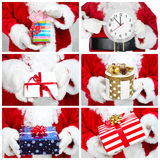 Hands of Santa Claus with gift. Collage Stock Photography