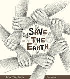 Hands Save The Earth Conceptual. Royalty Free Stock Images