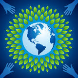 Hands save a green earth. Save environment, save earth with helping hands Royalty Free Stock Photos