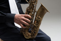 Hands of saxophone player Royalty Free Stock Images