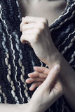 Hands and scarf Royalty Free Stock Image