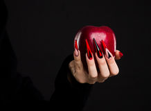 Hands with scary nails manicure holding red apple. Isolated on black background stock photo