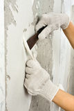 Hands scraping off old wallpaper with spatula during repair Stock Image
