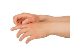 Hands scratching skin Stock Photos