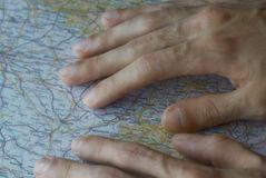 Searching The Map - Finding a Way Stock Photos