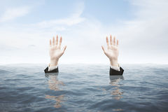 Hands seeking rescue Royalty Free Stock Photo