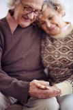Hands of senior couple Stock Images
